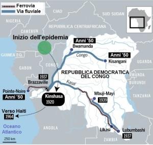HIV, AIDS, virus, storia, pubblicità, mappa, Kinshasa, Congo