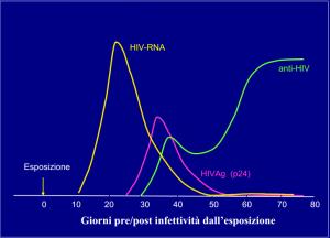 Rappresentazione temporale degli elementi che vengono attualmente ricercati nel sangue del paziente per effettuare diagnosi di infezione da HIV