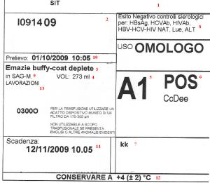 Etichetta di sacca contenente emazie buffy-coat deplete.